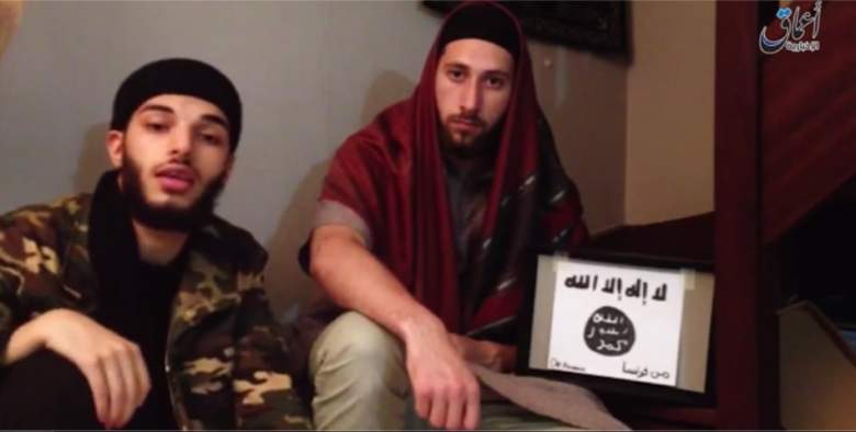 A screenshot from the ISIS video showing Kermiche (left) and Petitjean (right) pledging allegiance to ISIS. The video was released by ISIS.