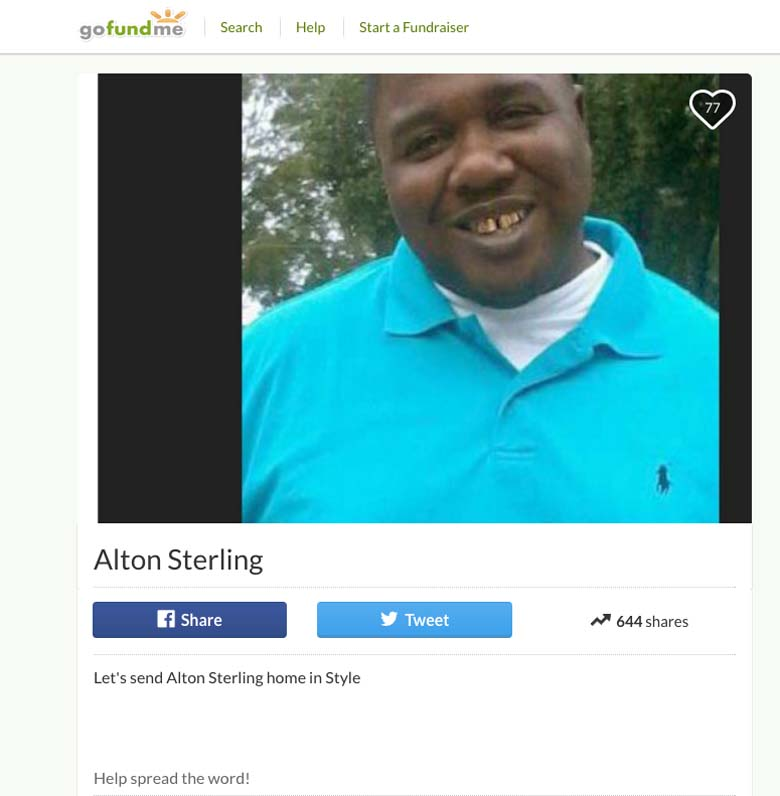 Alton Sterling Go Fund Me Page