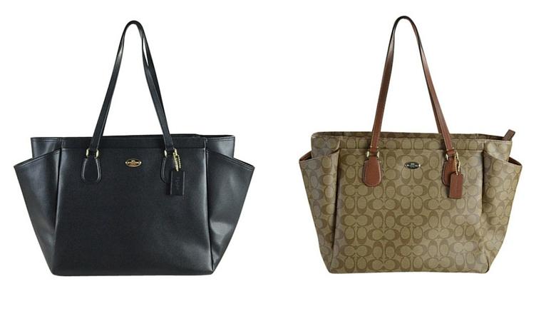 Coach F35414 Large Diaper Tote Travel Bag Coated Canvas Brown Black $495 , best designer diaper bag