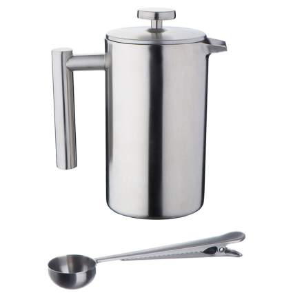 VonShef Double-Wall Keep Warm Satin Brushed Stainless Steel French Press