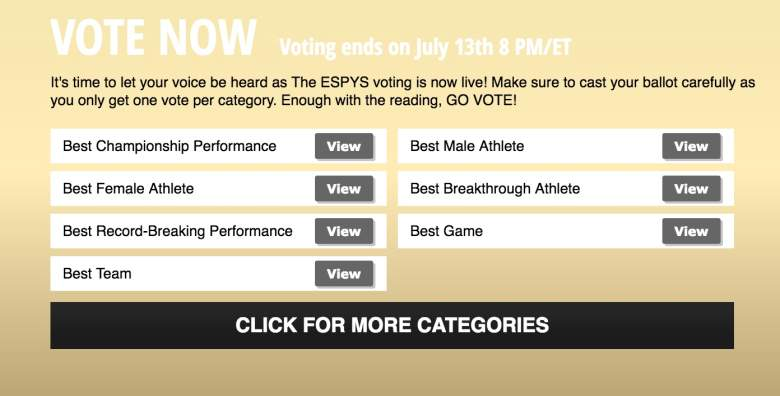 ESPYS 2016 Voting for Nominees, Voting for ESPYS, How to vote for the ESPYS, ESPYS voting, ESPYS Host