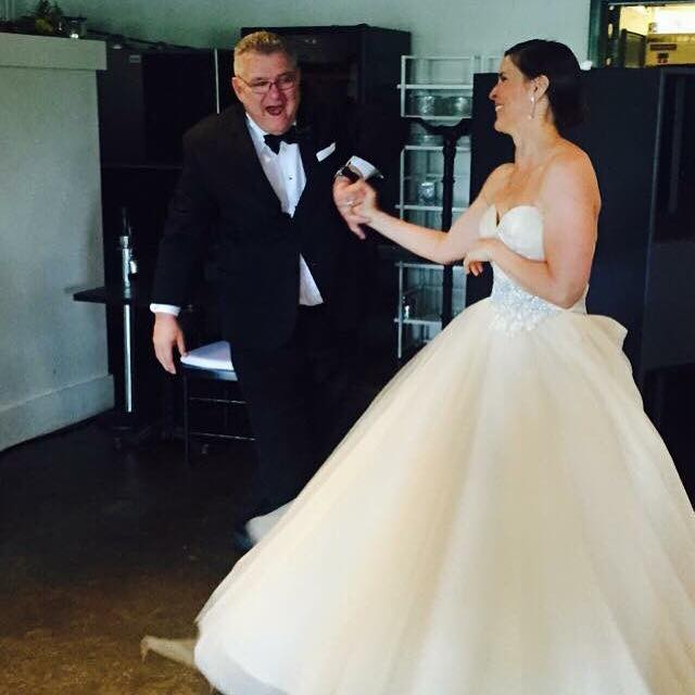 Frank Phelps shares a dance with his daughter the bride, Hilary Phelps Eldridge. (Facebook/Hilary Phelps Eldridge)