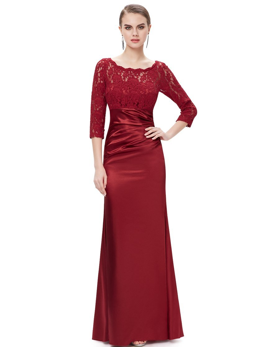long sleeve red wedding dress