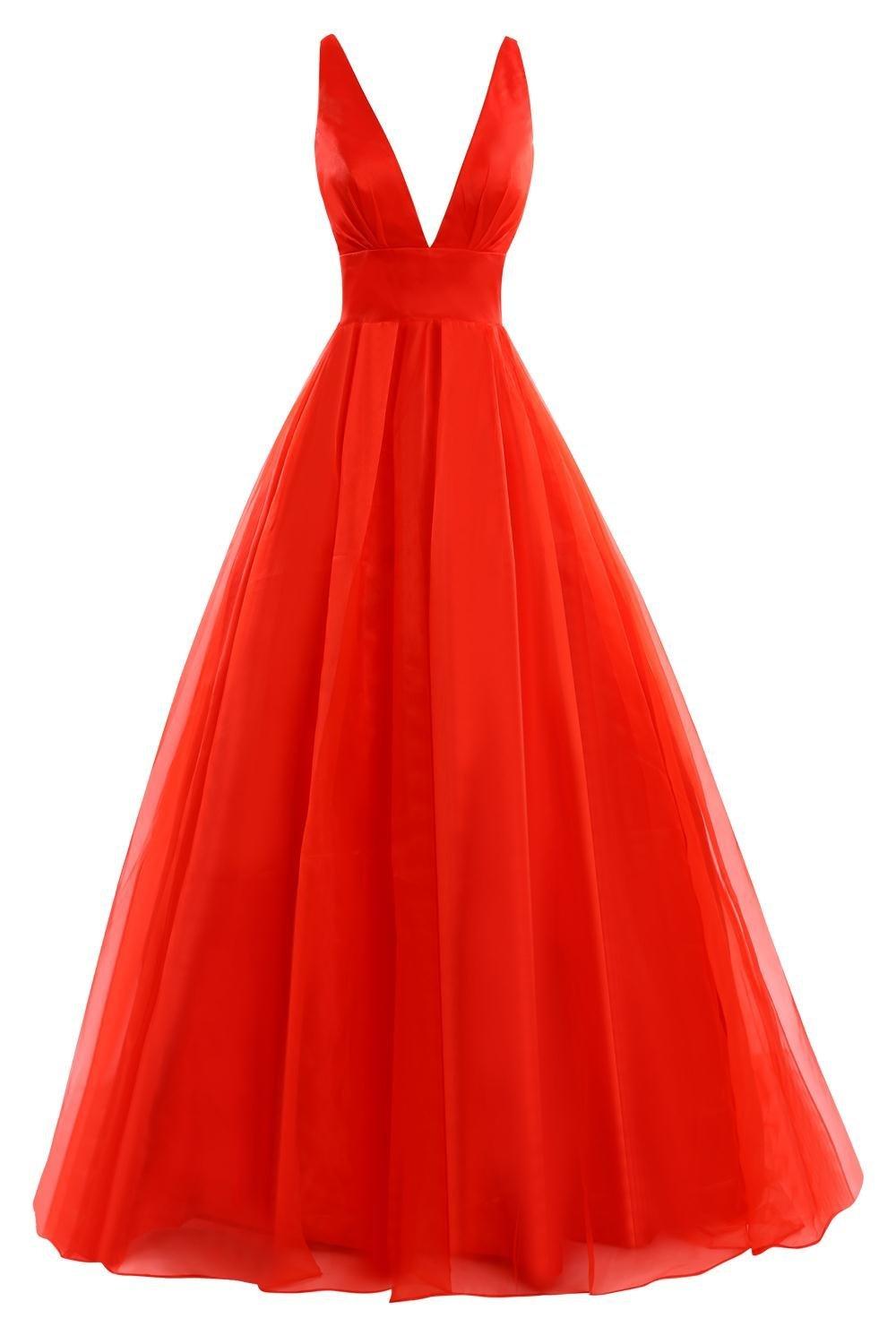 tulle red evening gown