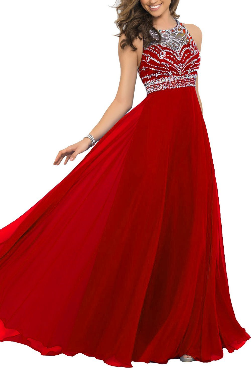 red floor length chiffon wedding dress