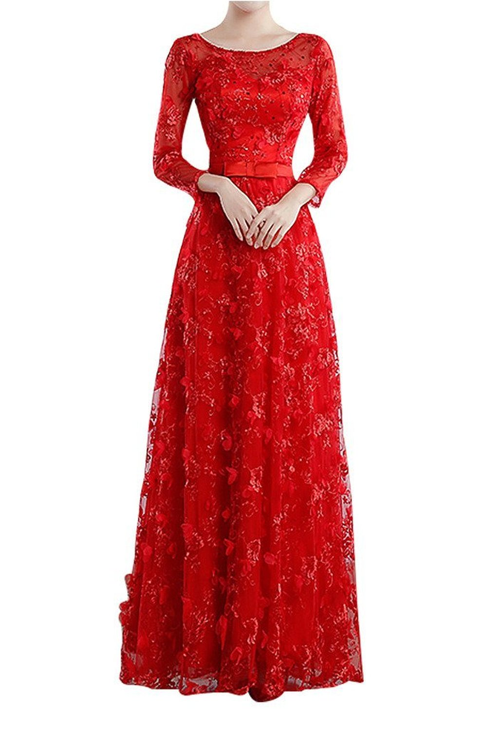 red bridal evening dress