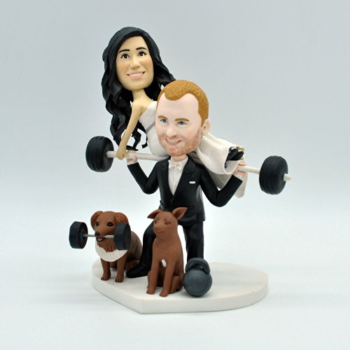 weightlifting funny wedding cake topper