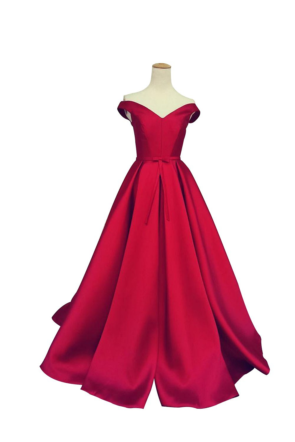 a-line red ball gown