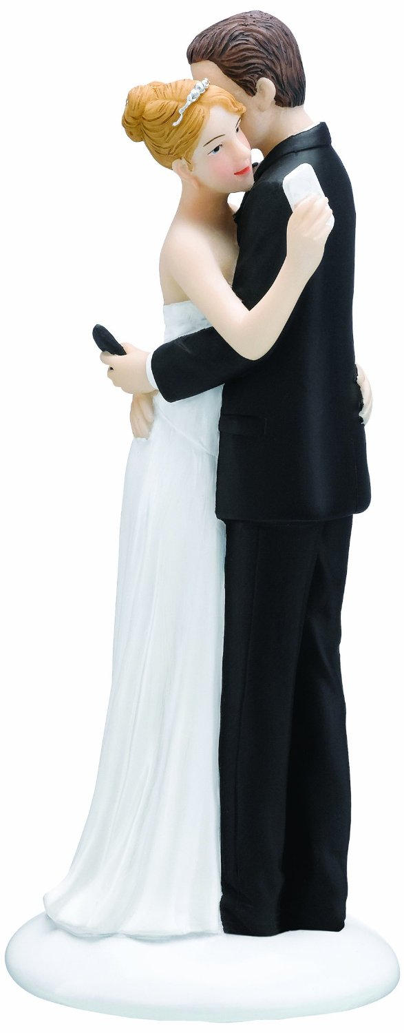 texting bride and groom wedding cake topper
