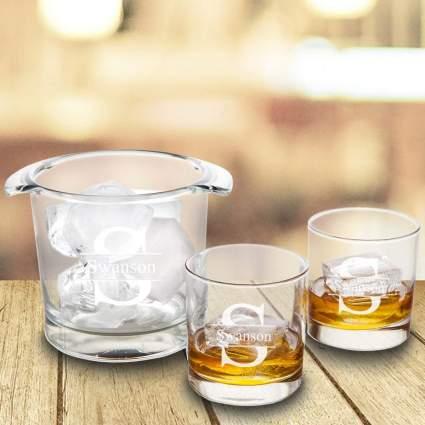personalized ice bucket set