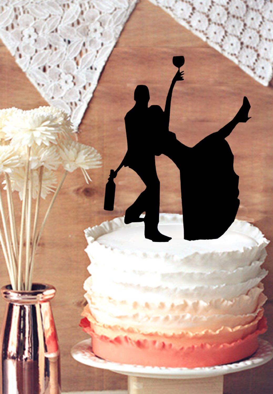 drunk bride wedding cake topper