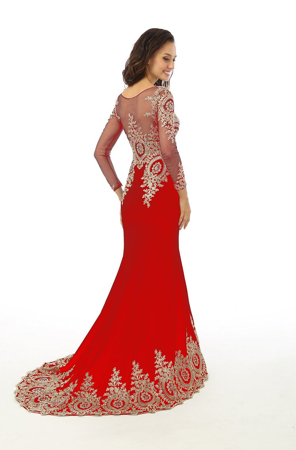 rhinestone red wedding dress