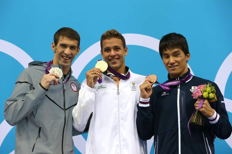 Michael Phelps of the United States, gold medallist Chad le Clos of South Africa and bronze medallist Takeshi Matsuda of Japan pose on the podium during the medal ceremony for the Men's 200m Butterfly final on Day 4 of the London 2012 Olympic Games. (Getty)