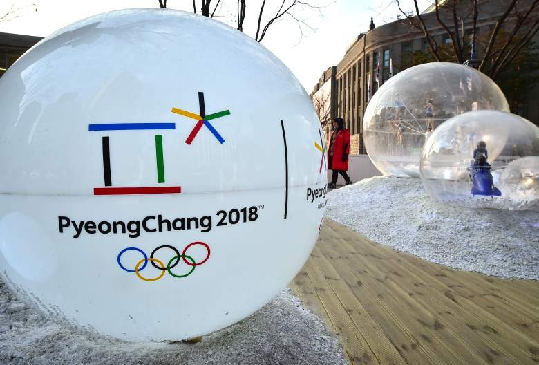"""The emblem of the 2018 PyeongChang Winter Olympics, with a capital """"C"""", is seen on an advertisement ball outside the city hall in Seoul on January 26, 2016. With a one letter shift from lower to upper case, the South Korean venue for the 2018 Winter Olympics, Pyeongchang, hopes to ensure visitors don't end up flying to the capital of North Korea by mistake.   AFP PHOTO / JUNG YEON-JE / AFP / JUNG YEON-JE        (Photo credit should read JUNG YEON-JE/AFP/Getty Images)"""