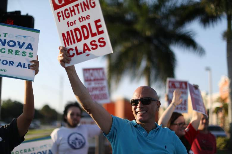 PEMBROKE PINES, FL - MAY 25: Tim Canova, Democrat Congressional Candidate for FL-23, joins CWA members, other South Florida union members and community activists at a Verizon protest on May 25, 2016 in Pembroke Pines, Florida. Mr. Canova is running to unseat Democratic National Committee Chairwoman Debbie Wasserman Schultz and has received the endorsement of Democratic presidential candidate Bernie Sanders. (Photo by Joe Raedle/Getty Images)