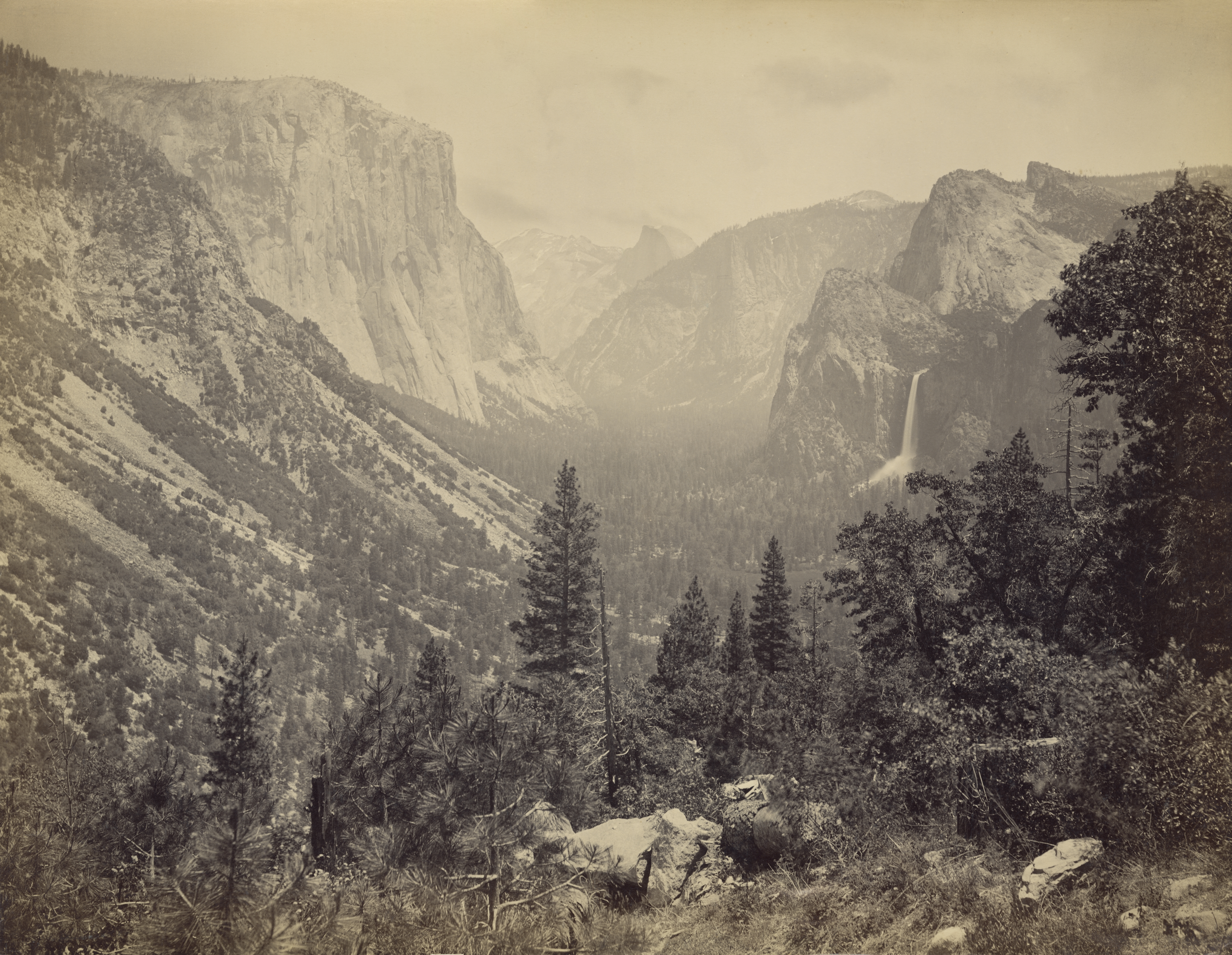 Looking east up Yosemite Valley from Artist Point, Yosemite National Park, California, circa 1865.  (Getty)