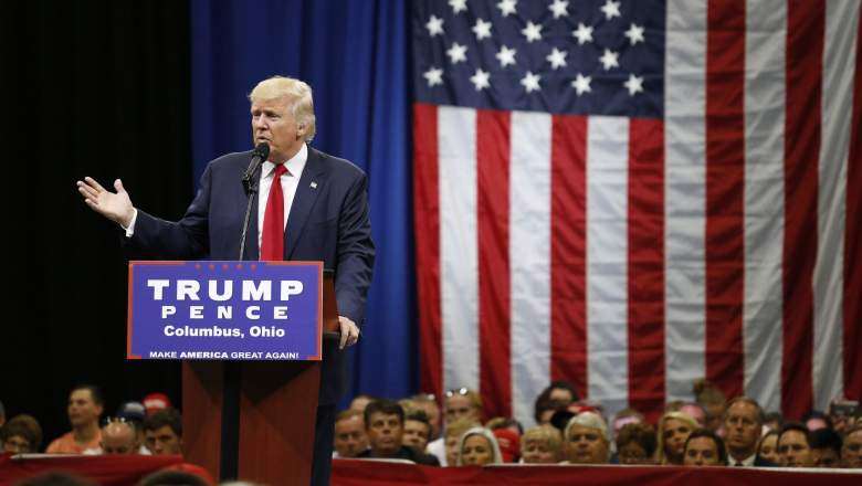 Republican presidential nominee Donald Trump speaks during a campaign rally in Columbus, Ohio on August 1. (Getty)