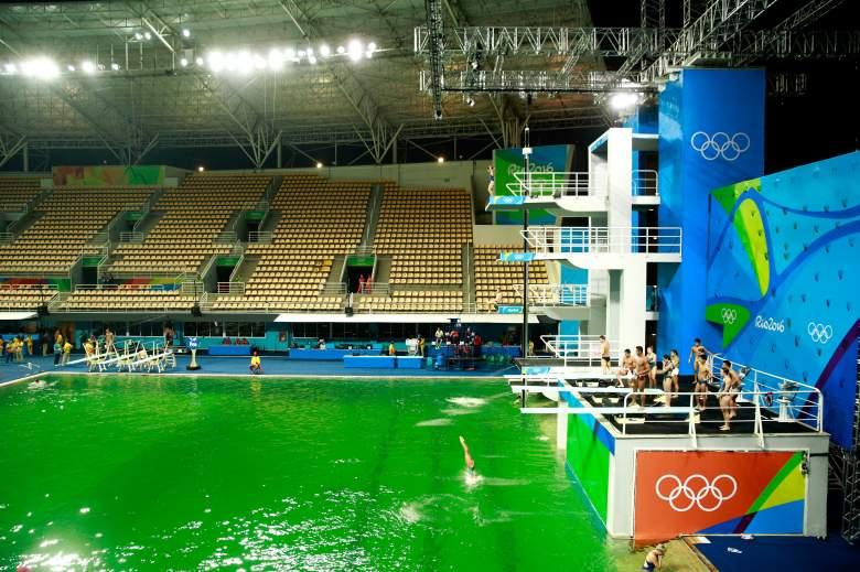Diving pool green, Olympics diving pool, Maria Lenk Aquatics Center
