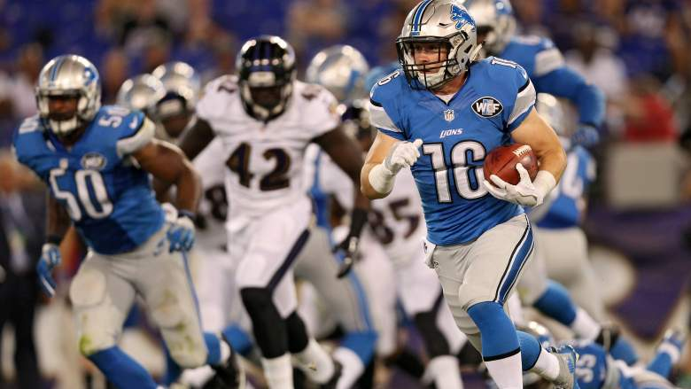 Wide receiver Corey Fuller of the Detroit Lions returns a kickoff against the Baltimore Ravens. Getty)