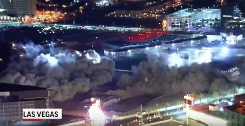 riviera, hotel, casino, implosion, demolition