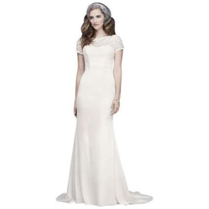 Geometric Lace and Crepe Cap Sleeve Wedding Dress