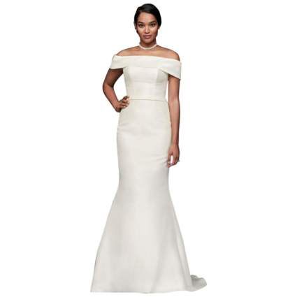 David's Bridal Off-The-Shoulder Mikado Trumpet Wedding Dress