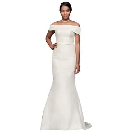 David's Bridal Off-The-Shoulder Mikado Trumpet Wedding Dress
