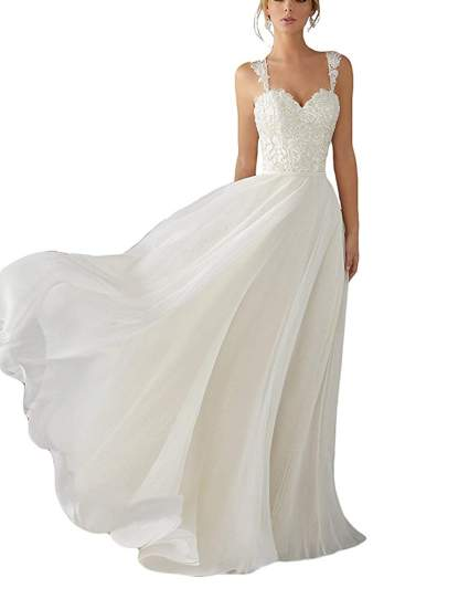 Lace Chiffon Bridal Gowns Beach Wedding Dress