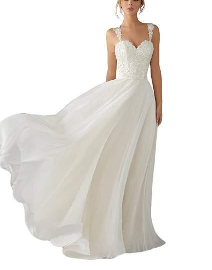 Lace Chiffon Bridal Gowns Beach Wedding Dress