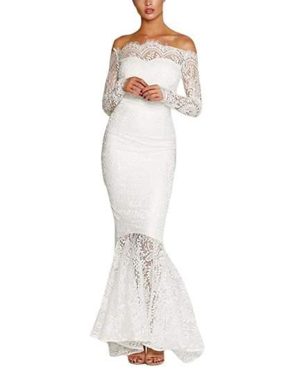 Women's Floral Lace Long Sleeve Off Shoulder Wedding Mermaid Dress