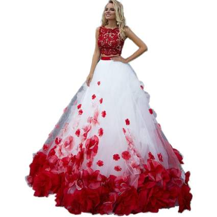 Two Piece Red & White Ball Gown