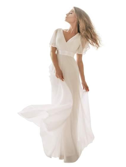 Short Sleeve V-Neck Long Evening Dress