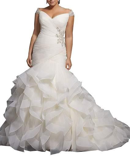QueenBridal Women's Mermaid Wedding Dress Plus Size