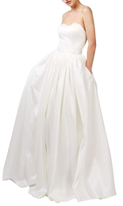 Ethel Women's Satin Sweetheart Lace Up Back Bridal Gowns with Pocket