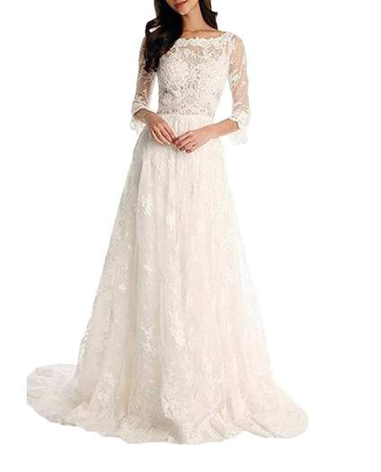 Tsbridal Lace Bohemian Wedding Dress