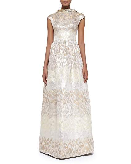 Badgley Mischka Collection Beaded-Collar Jacquard Evening Gown