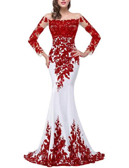 Lace Applique Evening Dress with Long Sleeves