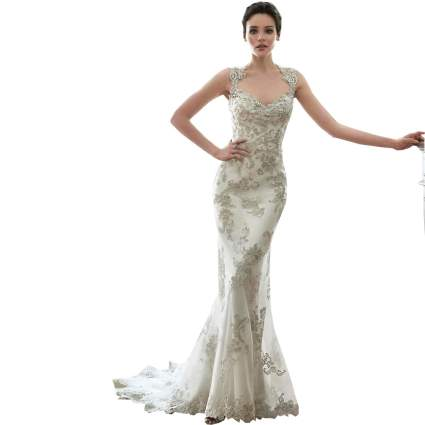 Queen Anne Mermaid Wedding Gown