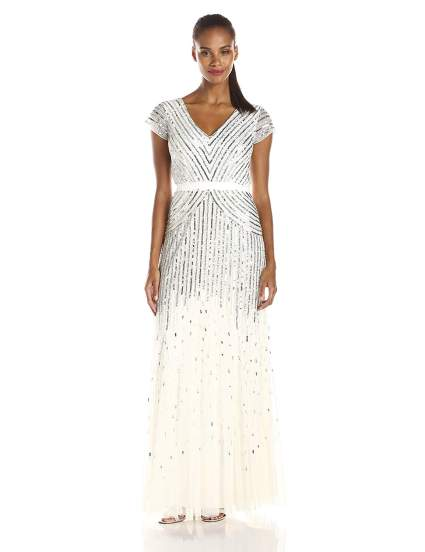 Adrianna Papell White Beaded Gown