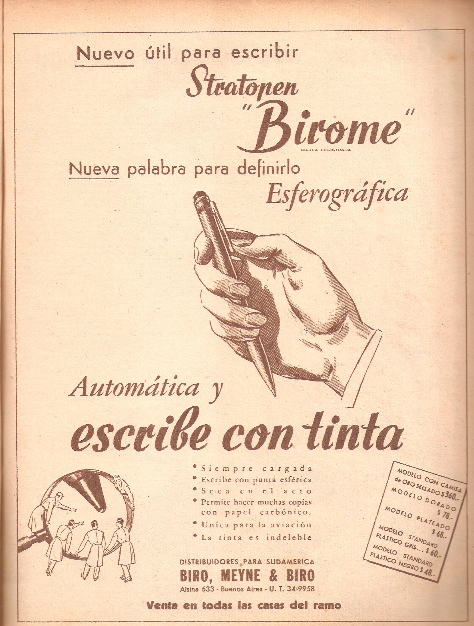 An advertisement for Biro's pen. (Wikimedia Commons)