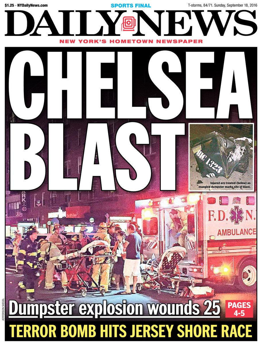 New York Daily News Chelsea Blast Front Page