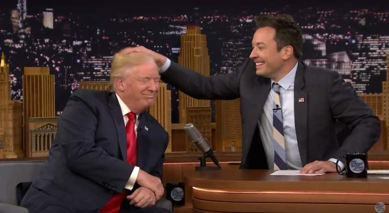 donald trump hair, jimmy fallon, messes, fake, toupee, is it real