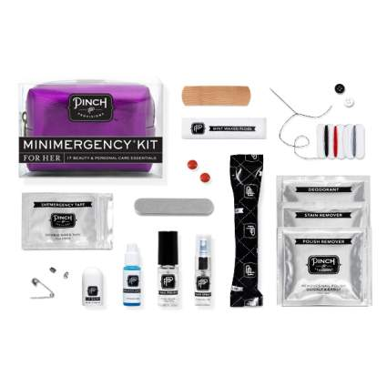 bridal emergency kit, wedding emergency kit, wedding day emergency kit, wedding day survival kit, wedding survival kit, bride survival kit, bridesmaid survival kit, pinch provisions, emergency bag, gift for bride from bridesmaid, bridal makeup kit list, wedding kit, bathroom baskets, wedding baskets, wedding bathroom basket