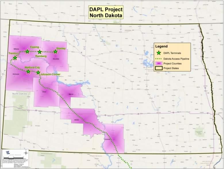 Dakota Access Pipeline map