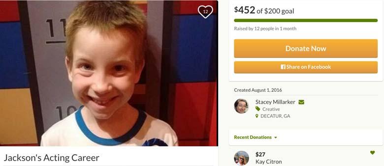 Jackson Millarker Go Fund Me page