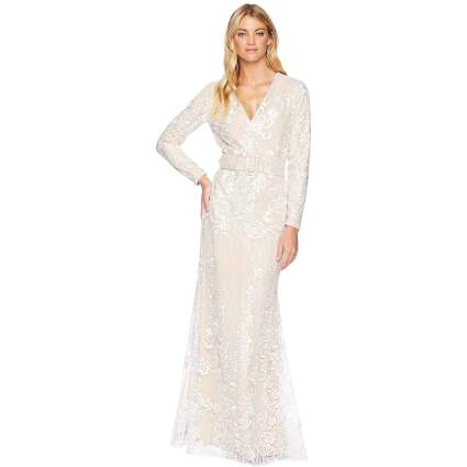 Badgley Mischka Womens Ivory Embellished Long Sleeve Dress