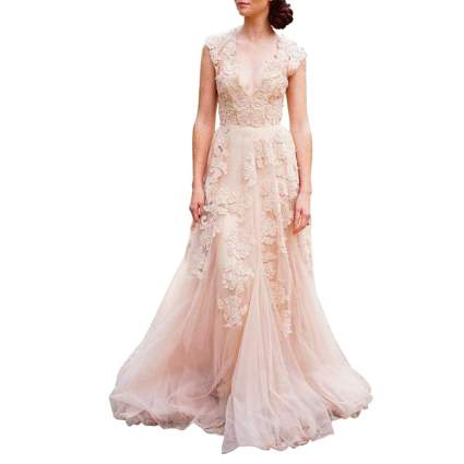 Vintage Cap Sleeve Lace Wedding Dress