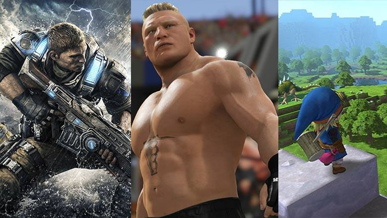 New releases include Gears of War 4, WWE 2K17, and Dragon Quest Builders