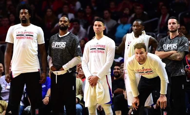 L.A. Clippers bench, Clippers vs. Raptors preseason