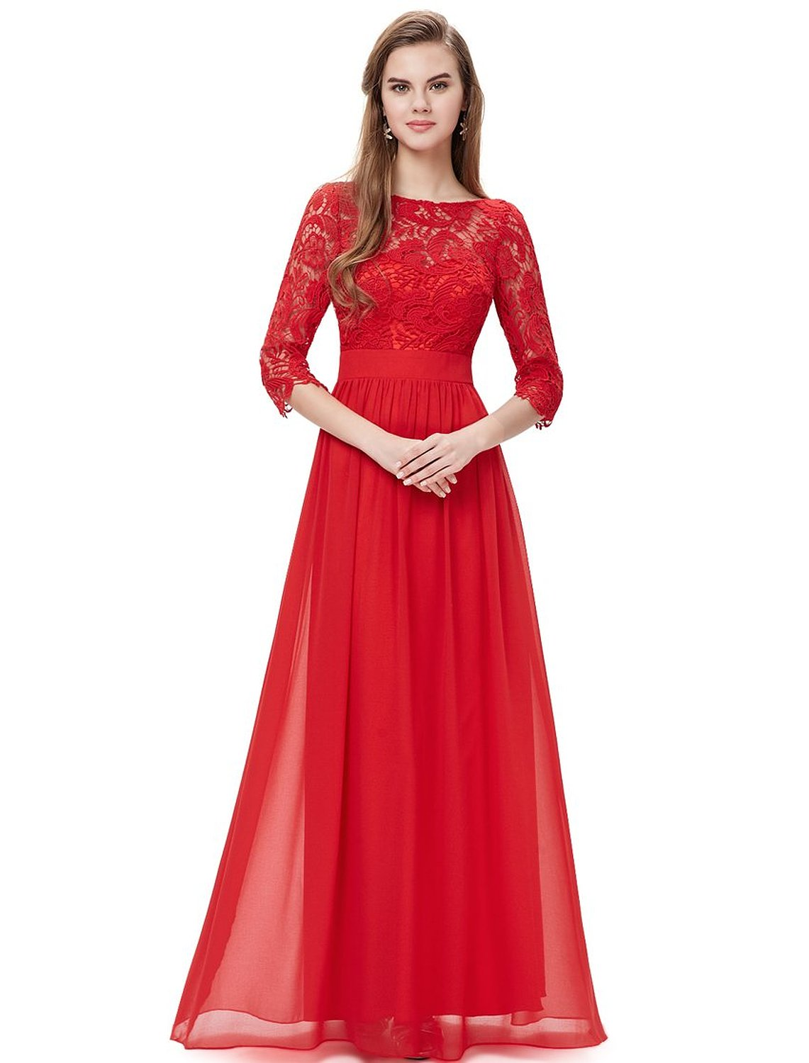red lace long sleeve wedding dress